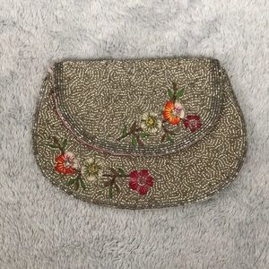 Forever 21 silver beaded clutch size small